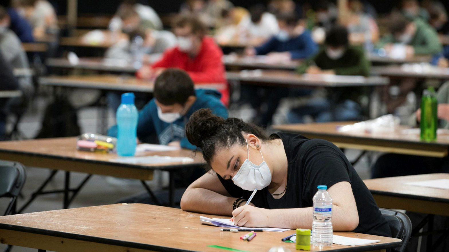 Students wearing face masks take part in an exam in Ghent, Belgium, on Monday © Nicolas Maeterlinck BELGA/AFP